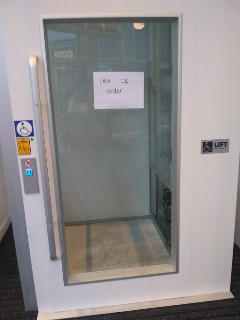 Out of order lift preventing students from accessing upper floors for lectures