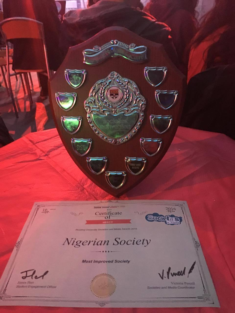 RUSU Award for Most Improved Society 2015/2016
