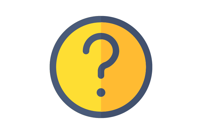 A graphic of a yellow circle with a grey question mark in the centre.