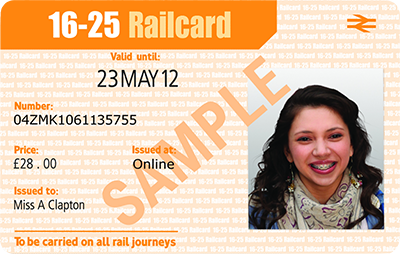Sample image of a 16-25 Railcard.