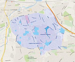 Reading University Students' Union safety bus catchment area