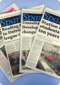 Past editions of Spark*, our student-run student newspaper