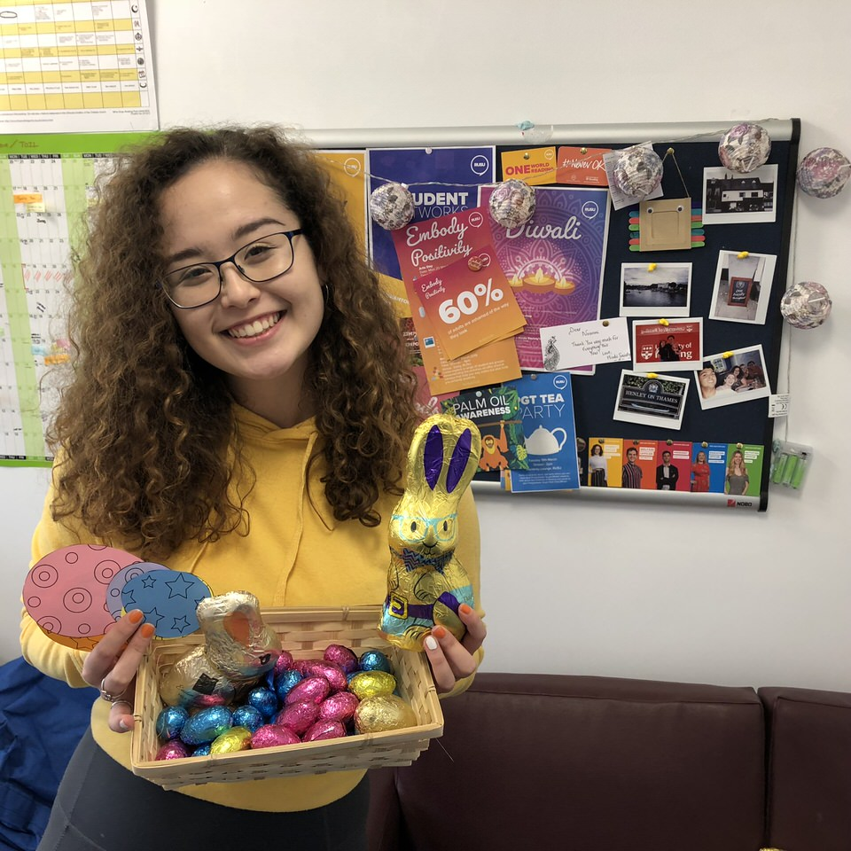 RUSU Diversity Officer Nozomi Tolworthy preparing the Easter Egg Hunt