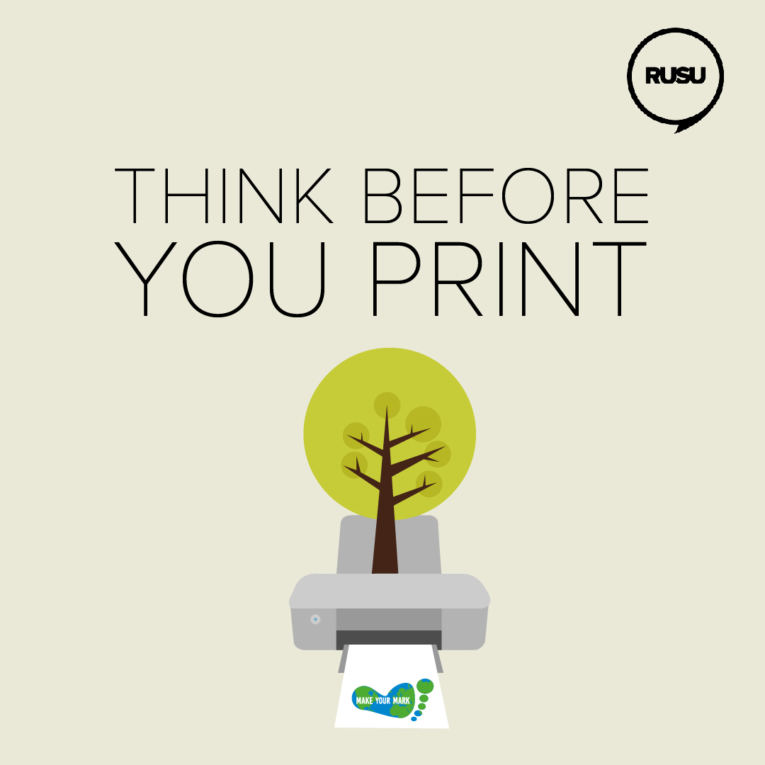 Think before you print sticker, with a graphic of a tree beneath it